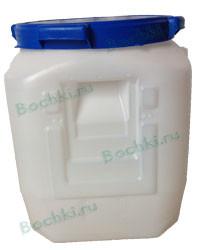 Бидон 55 литров квадратный белый/синий с резиновым уплотнителем