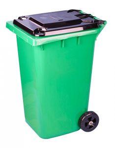 Бак для мусора 240 литров на колесах зеленый